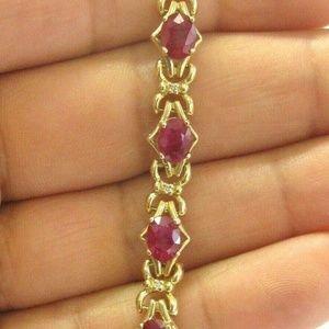 Jewelry - Oval Ruby & Diamond Yellow Gold Tennis Bracelet 14